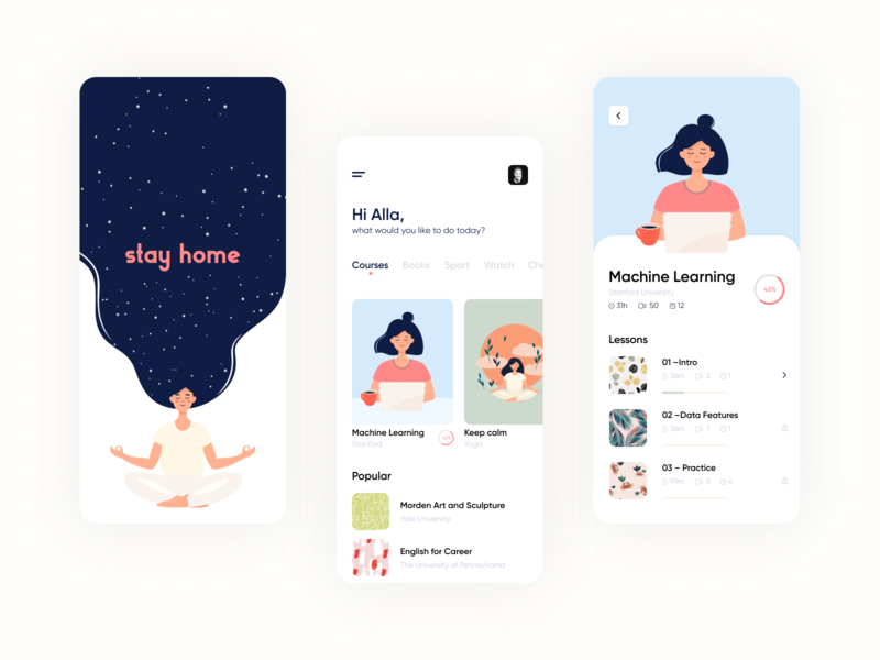 Stay Home App lessons popular yoga book courses illustrator stay home ios app ios pink vector ux mobile illustration ui app clean design minimal