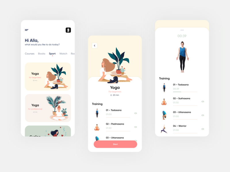 Stay Home App. Sport book courses sports design stay home popular sports training yoga sport pink vector ux mobile illustration ui app clean design minimal