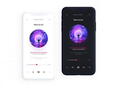 Minimal Music Player App light mode lyrics clean dark mode music player daily ui music music app minimal ui app