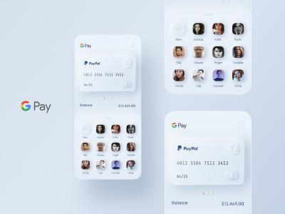 Google Pay Redesign Concept (GPay - Skeuomorphism) ui apple banking bank app cash money ios finance mobile banking fintech gpay redesign google card payment credit card skeuomorph app skeuomorphism skeuomorph skeumorphic application