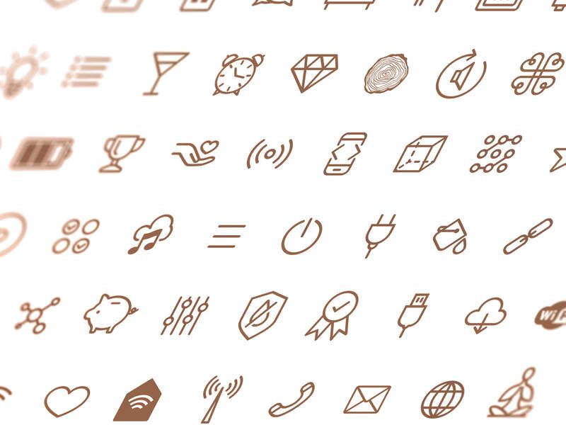 Icon set identity lineart icons pictogram vector illustration branding iconset icon