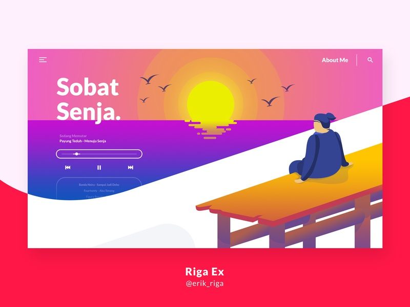 Sobat Senja evening indonesia flat web illustration layout landing page ux ui