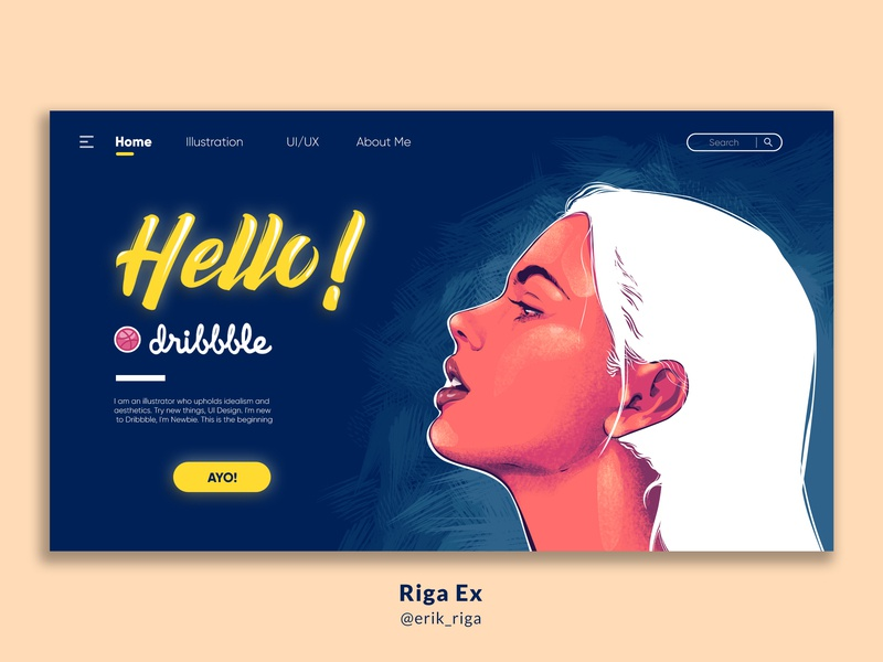 Hello Dribbble firstshot woman woman illustration woman portrait design website indonesia layout web vector landing page ux ui illustration