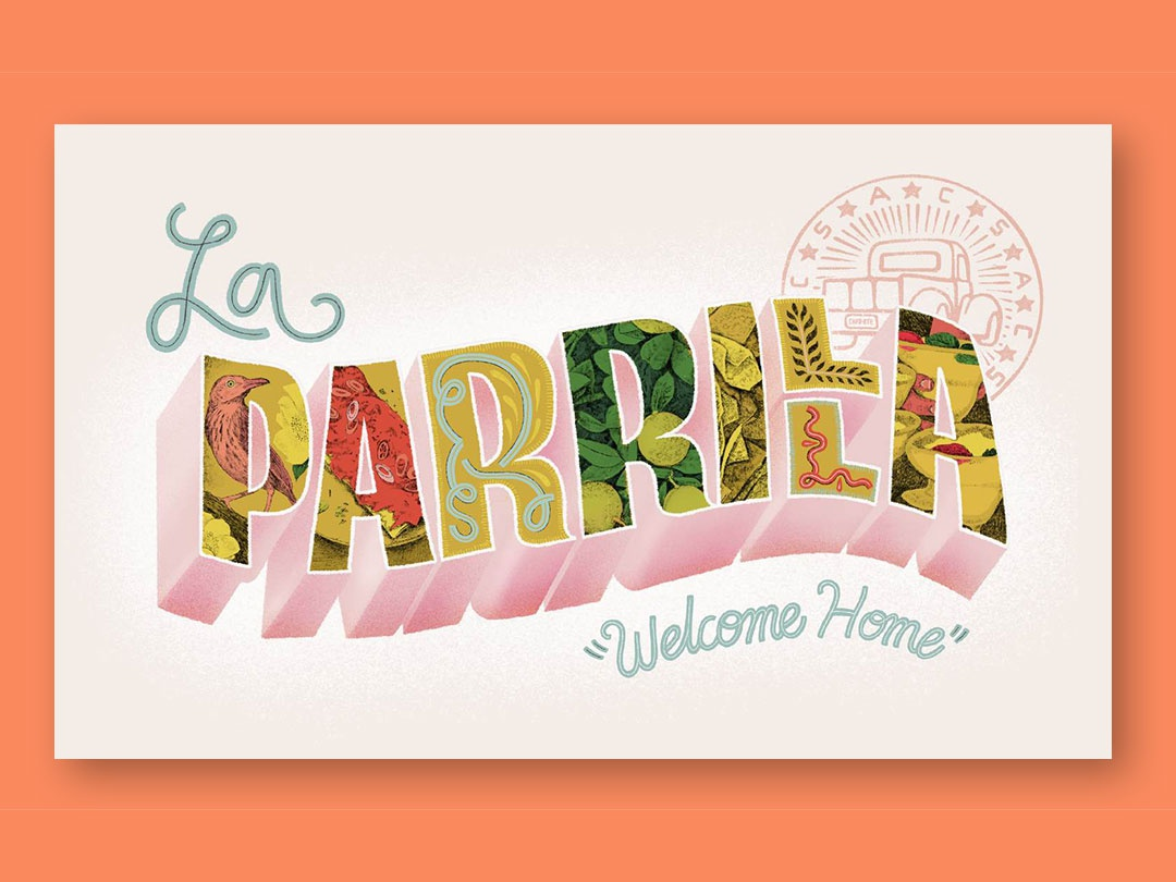 """""""The Cheese-Smothered Comfort of My Hometown Mexican Chain"""" typography editorial illustration animation illustration"""