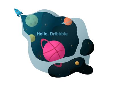 Hello Dribbble! digital illustration first shot design rocketship rocket stars planet outer space space animation illustration hello hello dribbble