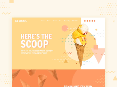 Ice Cream Company Homepage Concept memphis design memphis style geometric motion shapes retro ice cream pastel colors home landing webdesign website landing page homepage double up digital animation design