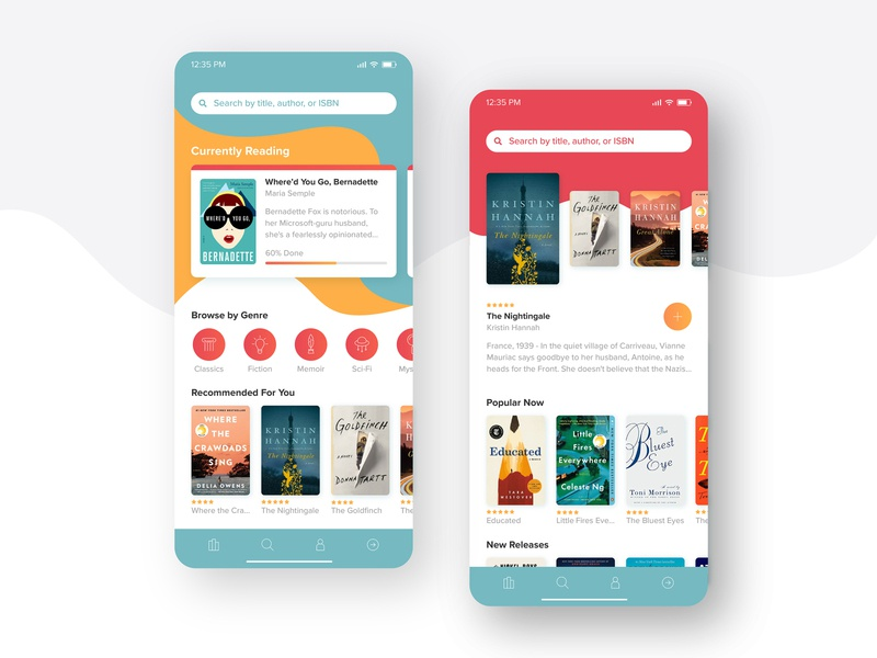 Reading App Concept colors read reading list library app design abstract modern iphone clean bright fun concept mobile books reading app