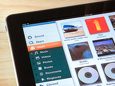 My Stuff on iPad ui ios ipad social music
