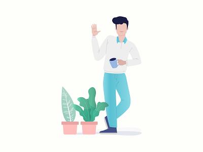 Man standing with Plants (Illustration) concept typography branding vector app design illustration