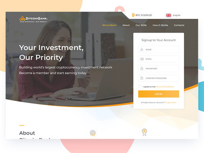 Landing Page for Bitcoin ux ui bitcoin bitcoin landing page