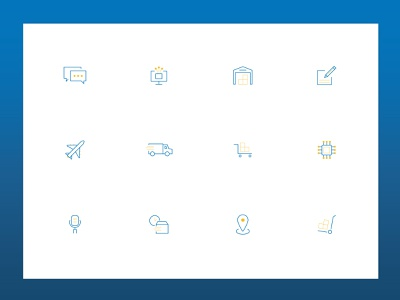 AGS Logistics :: Icons dual colors dual-tone components tech modern industrial industry logistics iconography icons website web