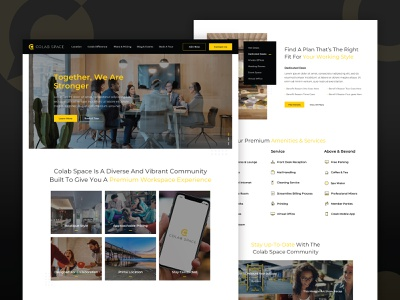 ColabSpace :: Homepage real estate lodging slider services amenities entertainment property collaborate clean desktop ux map icons hover button website web