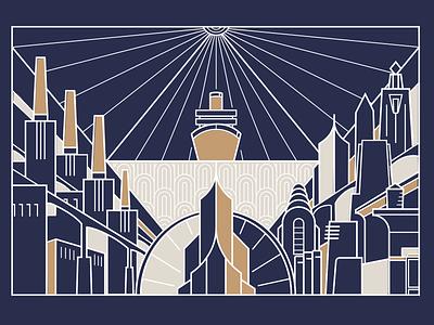 Art Deco line art for Limbo the Passing design game distopy modern city lineart artdeco