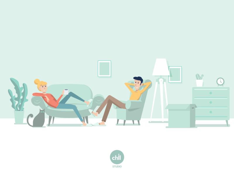 Header illustration for web green flat vector web platform renting illustration corporate banner header branding