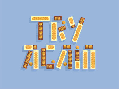 Oatmeal cookies oatmeal try again personal project still life shadows lettering grain illustration design type vector