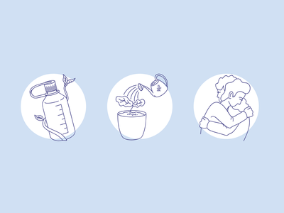 Wellness Spot Illustrations hydration mental health awareness care mental health wellness spot illustration editorial vector design illustration