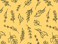 Herbs Pattern - Line Art