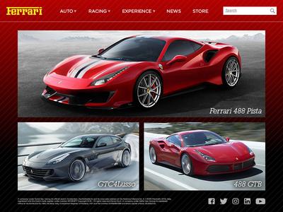 Ferrari.com Home Page UI need for speed lamborghini website ui cars ferrari