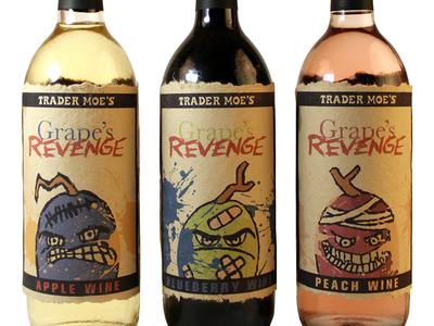 Grape's Revenge Fruit Wine alcohol trader joes grape typography fruit wine
