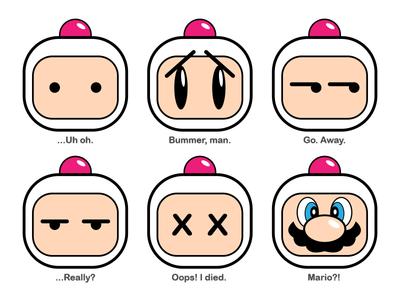 BOMBERmoji's Vol. 2 super mario mario emoji konami sega genesis super nintendo nes snes hudson hudson soft bomberman retro video game sega nintendo