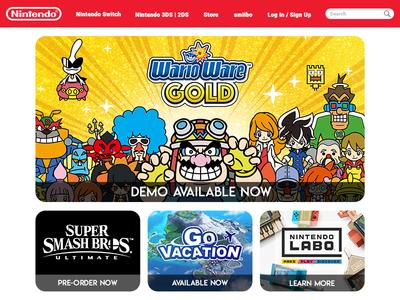 Nintendo.com Home Page UI website ui nintendo