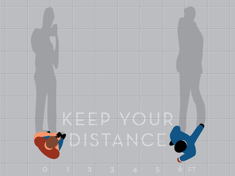 Keep your distance 6ft shadows overhead design illustration vector