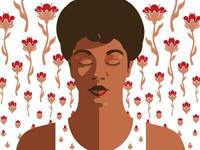 Sarah Vaughan black lives matter portrait vector illustration