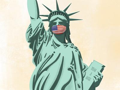 Liberty july 4 usa procreate ipad pro wear a mask mask statue of liberty liberty