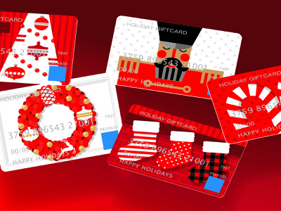 Holiday Giftcard Illustrations graphicdesign giftcard retail christmas holiday illustration vector