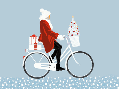 Holiday shopping winter red and white bicycle presents christmas