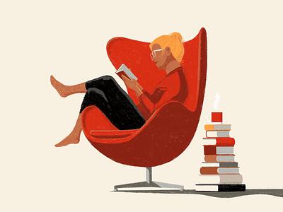 Modern reader coffee read modern furniture egg lounge chair books