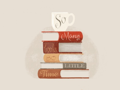 So Many Books procreate illustration typogaphy reading coffee books