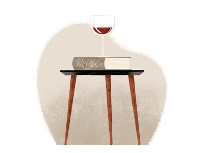 Relax procreate illustration wine reading books