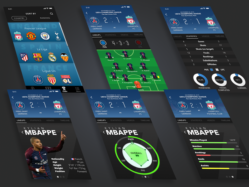 Football / Soccer Mobile App Concept by Tristan Blarel on
