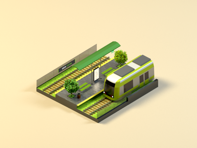A Green Station repost train station green b3d 3d poly low blender