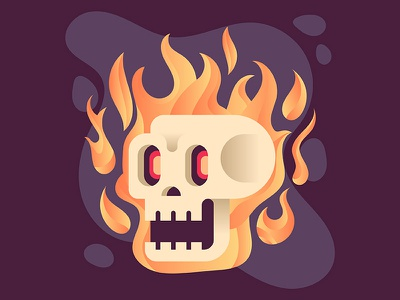 Flaming Skull Illustration skeleton bone fire flamingskull flaming skull illustration