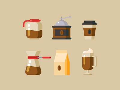 Coffe americano equipment coffee grinder coffeemaker cafe drink cup icon cappuccino espresso element clipart set coffee