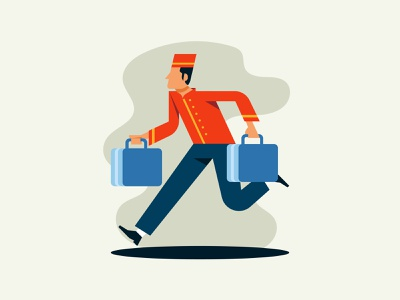 Bellhop doorman employee porter suitcase worker boy occupation uniform bellman bellboy bellhop hotel luggage service staff man