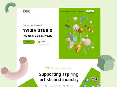 NVIDIA Studio landing page concept graphics games design website design uiux designer uiuxdesign concept character nvidia app icon ux ui illustrator branding website 3d concept design concept art landing page