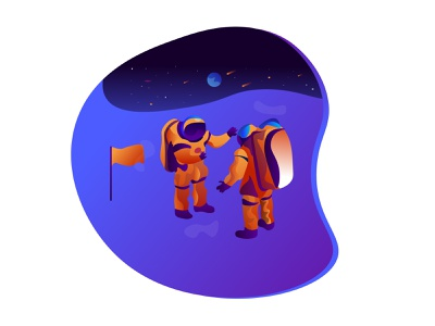 Moon Mission animation art portrait icon web typography website illustrator graphic vector design moon mission moon landing moon phases moonlight moon illustration
