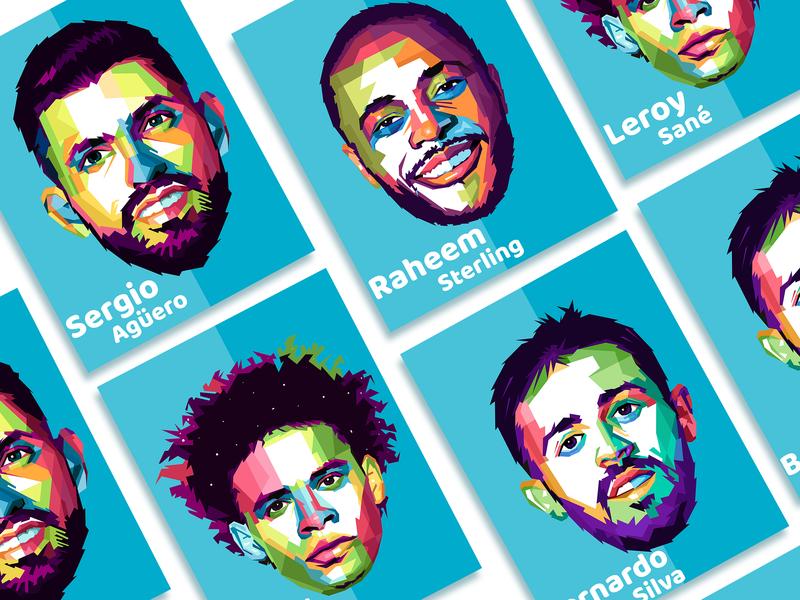 Manchester City player Illustration pop wpap logo ui branding typography website illustrator art vector portrait graphic design illustration mc manchester city epl english premier league enfield pl