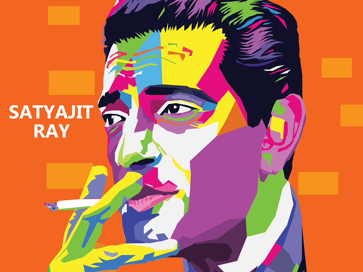 Remembering the Legend Satyajit Ray flat psd animation web ui pop website bengali cinema satyajit ray branding typography portrait illustrator vector graphic design illustration
