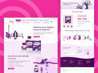 Restoralax website user interface