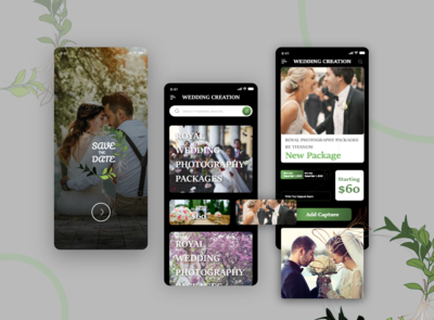 Wedding photography Mobile apps design