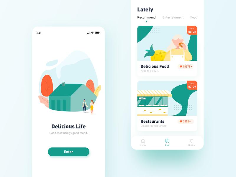Food life-UI illustration app ux ui