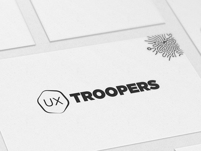 UXTROOPERS logo business cards white black agency ux logo troopers