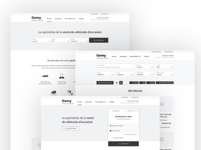 Gemy Wireframes landing page search engine wireframes