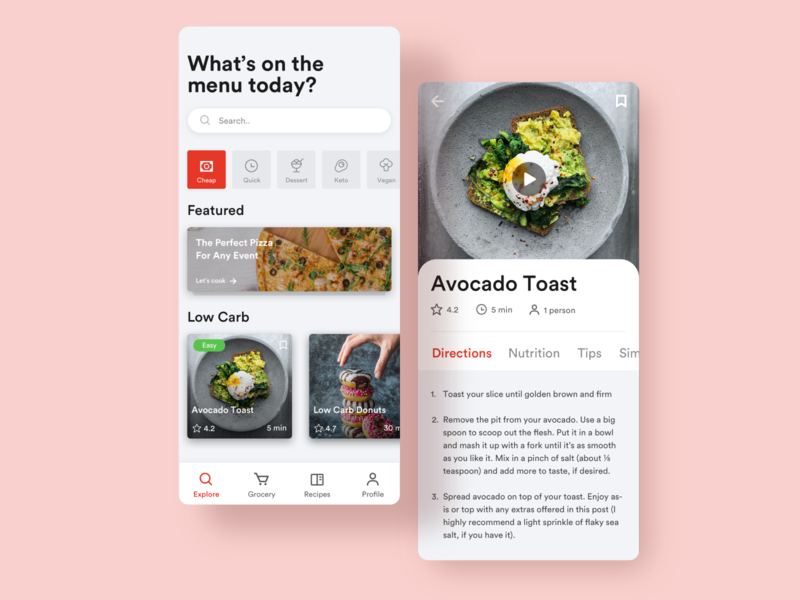 Pocket Cook - Recipe App typography ux interaction app uidesigns uidesign userinterface ui design clean