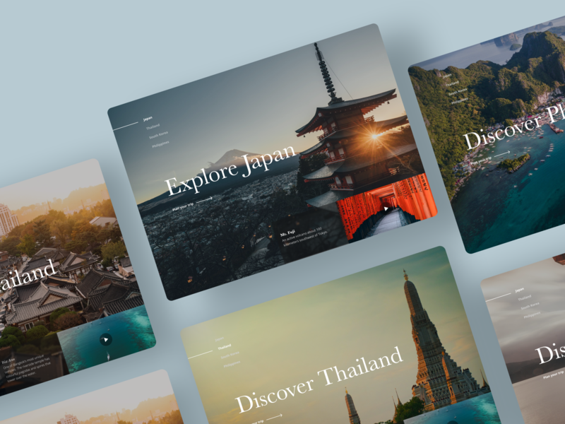 Travel Concept Screens webdesign sketch figma userinterface uidesign interface design dailyui website concept clean website minimal web ux ui