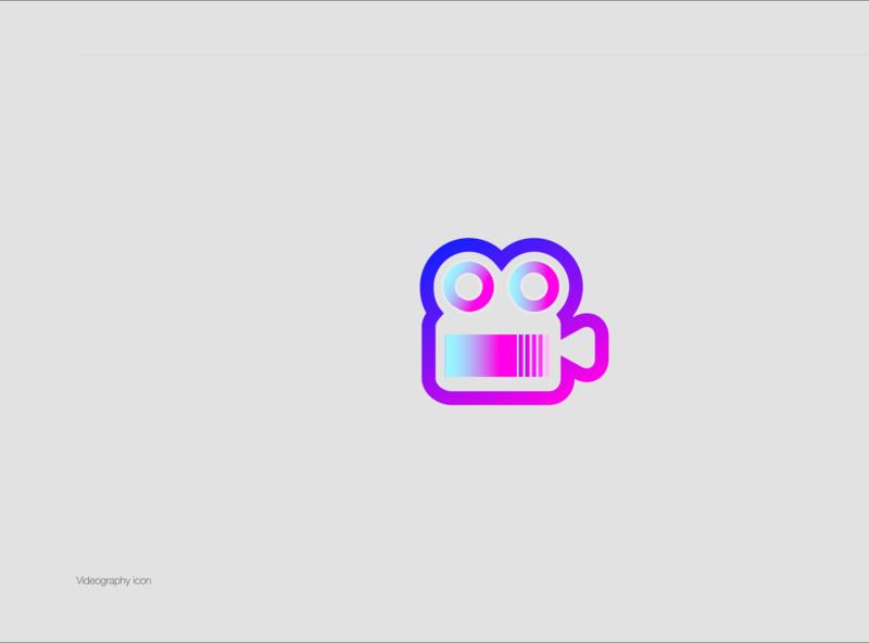 Videography Icon geometric flat app web ux vector logo design icon ui
